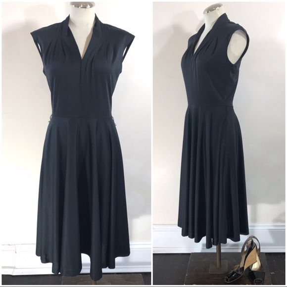 Vintage Dresses Black Fit And Flare Midi Dress Poshmark